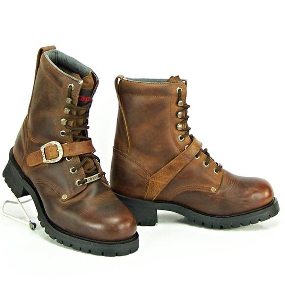 Dingo Men's Lace Strap Brown Leather Cowboy Boots.